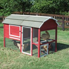 Precision Pet Products Old Red Barn II Chicken Coop with Roosting Bar and Nesting Box