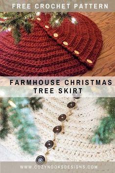 Farmhouse Christmas Tree Skirts, Christmas Tree Skirts Patterns, Christmas Skirt, Crochet Christmas Trees, Holiday Crochet, Christmas Knitting, Crochet Gifts, Free Crochet, Christmas Ideas