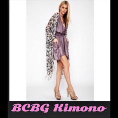 BCBG Black/Grey Kimono Poncho Scarf Fringe So versatile! Black, grey and pink abstract print poncho scarf with fringed hems. There are armholes so you wear this like a cardigan, they just call it a poncho scarf. Perfect to throw over a tank and jeans, summer dress or bathing suit! One size. Brand new with tags! By BCBGeneration, retail $98. *Red shawl just shown for style. BCBGeneration Tops