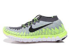 2015 Nike Free Flyknit 3.0 Damen Grau Grün