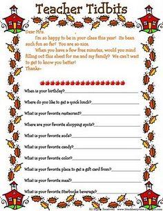 Teacher info sheet