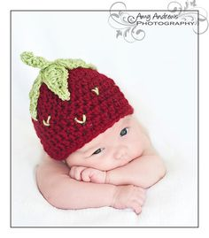 Baby Girl Crochet Strawberry Hat and by dkcuddlemecrochet on Etsy, $40.00