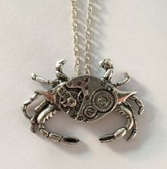 Vintage Crab Steampunk Watch Pincer Not Movement Pendant Necklace #crab #necklace