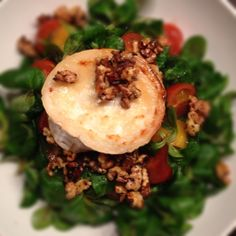 Caramelized goat cheese on lamb's salad.