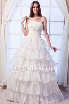 Pick Up Wedding Dresses Strapless Floor Length Satin Organza White W10010901222