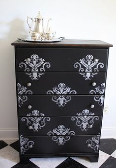 Already have the stencil and espresso finished dresser. On my to do list! DIY
