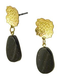Sorrel Earrings | etched brass and bluegold stone | Drew Curtright | drewcurtrightdesigns.com