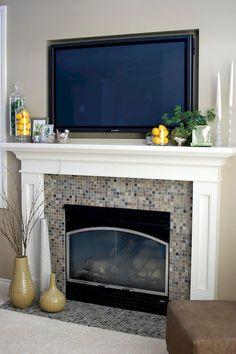 Mantel with tv decorating ideas like the idea of putting - Mantel decor ideas with tv ...