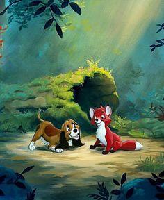 Disney fanart Disney Pixar, Disney Pop Art, Walt Disney, Disney Dogs, Disney Films, Disney Fun, Disney Animation, Disney Images, The Fox And The Hound