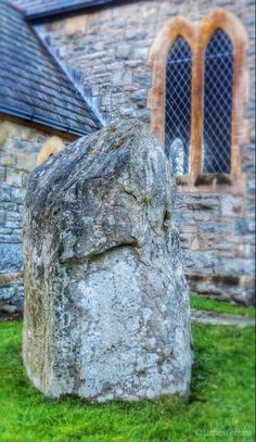 Standing stone located in the grounds of St Gwrthwl's churchyard, Llanwrthwl.
