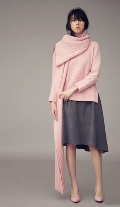 Minimal + Classic: pink knit with grey