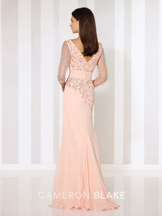 Cameron Blake - 116651 - Chiffon sheath with glitter printed illusion three-quarter length sleeves, front and back V-necklines, glitter printed bodice with asymmetrically dropped waist and ruched midriff, sweep train.  Sizes:4 – 20,16W – 26W  Colors:Oyster Pink, Jade, Navy Blue