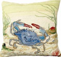 Needlepoint Blue Crab Pillow