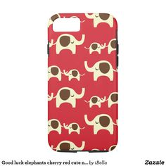 Good luck elephants cherry red cute nature pattern iPhone 8/8 plus case
