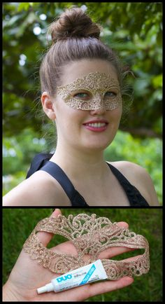 DIY Glitter Halloween Masquerade Mask Tutorial and Template from Sprinkles in Springs here. I posted her original mask here (which I thought was so clever using tulle and puffy paint). She also shows how to safely adhere the mask to your face so no ties necessary.
