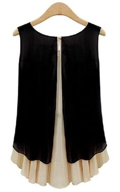 Black Apricot Sleeveless Back Split Chiffon Blouse