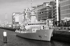 View of brand new Irish Naval Service Vessel L.E. Samuel Beckett P61 before Official Commissioning tomorrow morning. Photo taken from Samuel Beckett Bridge, Dublin tonight