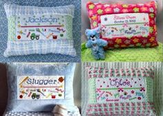 """In the Hoop """"Birth Sampler Pillows for Boys and Girls"""" includes designs and instructions to create 12 by 16 inch pillows. Use the designs to create coordinating items perfect for new parents & baby showers!"""