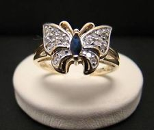 10K YELLOW GOLD NATURAL BLUE SAPPHIRE BUTTERFLY RING DIAMOND ACCENTS 3.3g SIZE 8