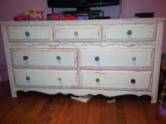 Distressed dresser!! I redid this 20 year old dresser that has been in our family forever for my little girl! Thinking about opening a store with similar pieces! Let me know what you think please!
