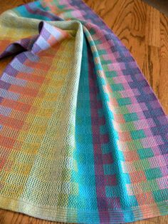 Handwoven Towel Turquoise Color Blocks By ThistleRoseWeaving