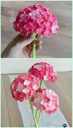 Crochet Hydrangea Flower Bouquet Free Pattern- #Crochet 3D Flower Bouquet Free Patterns Crochet Bouquet, Crochet Puff Flower, Crochet Flower Tutorial, Crochet Flower Patterns, Crochet Flowers, Crochet Designs, Knitting Patterns, Diy Flowers, Flower Bouquets