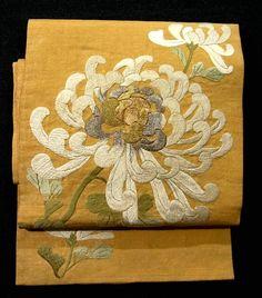 Embroidered Kiku Pattern Vintage Nagoya Obi