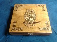 Celtic owl keepsake box by Wisconsinwoodburning on Etsy