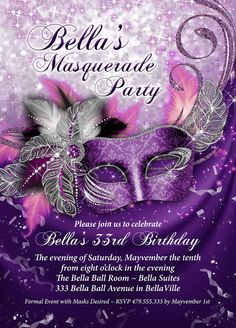 Invito alla festa Mardi Gras Party inviti festa di BellaLuElla