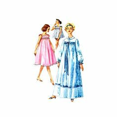 1950s Nightgown Shortie Nightgown Panties Simplicity 2749 Vintage Sewing Pattern
