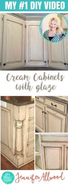 How to paint Cream Cabinets with glaze. This is my #1 selling DIY Video for updating your kitchen with painted cabinets. It's easy and goes with several kitchen styles - farmhouse kitchens, shabby chic kitchens and more. Kitchen Cabinet Makeovers are inexpensive and give a huge impact. #diyhomeremodeling