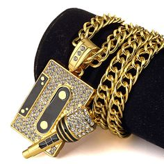 Music Microphone Pendant Necklace Men Jewelry Hiphop Chain Gold Silver Plated Hip Hop Rock DJ Rapper Necklaces Mens Jewellery