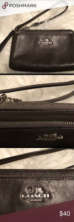 Coach Double Corner Zip Wristlet Very pretty color of Coach wristlet. Compliments every outfit!! Shiny taupe-brown.  Two pocket.  Two credit card/ID slots in one of the pockets. Coach Bags Clutches & Wristlets