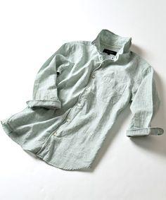 SHIPS JET BLUE(シップスジェットブルー)のSHIPS JET BLUE(シップス ジェットブルー): フレンチリネン ワイヤーシャツ 7スリーブ■(シャツ/ブラウス)|グリーン