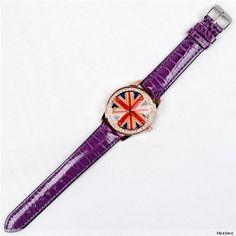 Nicedeco – England flag element diamond-studded Quartz Leather Wrist Watch with stones,women watches,purple BAND