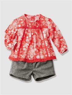 Ensemble bébé fille blouse + short CORAIL IMPRIME - vertbaudet enfant  Ensemble Bébé Fille, Ensemble c1617da9831