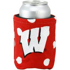 Wisconsin Badgers Cardinal Polka Dot Canvas Can Koozie #Ultimate Tailgate #Fanatics