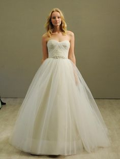 Jim Hjelm ivory taupe tulle wedding dress from Spring 2016