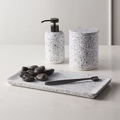 Shop Scala Terrazzo Canister with Lid. Terrazzo bath accessories go back to basics with white, black and grey color palette. Zen Bathroom, Guest Bathrooms, Bathroom Towels, Bathroom Sets, White Bathroom, Bathroom Designs, Master Bathroom, Bathroom Mirrors, Bathroom Inspo