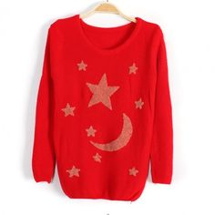 Sweet Candy Color Star and Moon Pattern Long Sweater - Sweaters - Sweaters & Knits - Clothing - Women's Style Free Shipping