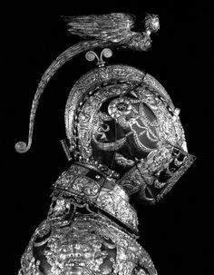 Ornate metal medieval helmet