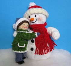 ** NOTE THAT THESE ARE PATTERNS ONLY - NOT THE FINISHED DOLLS*  A little girl is giving her Snowman friend a big hug. Hope she doesnt melt him!! The little girl is 9 inches tall and the snowman is 12 tall.  They are done entirely in single crochet and mostly in amigurumi style using various acrylic yarns. The patterns come with many photos and very detailed instructions to help you along the way. If you have any questions about the pattern, you can just email me directly or contact me via…