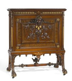 1872 Renaissance folio stand, burl walnut/carved/inlaid, Herter Bros, NYC, for 1st floor parlor, Latham's Thurlow Lodge, CA 09-85k