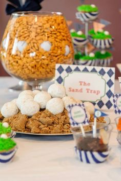 Cute food ideas Golf Party Sand Traps- See More Golf Party Ideas On B. Golf Party Foods, Party Snacks, Birthday Party Treats, 1st Birthday Parties, Birthday Ideas, Golf First Birthday, Sports Birthday, 75th Birthday, Sports Party