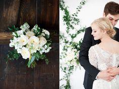 Beautiful white garden rose wedding bouquets, vine wall backdrop, flower wall, white and green wedding utah florist calie rose gorgeous wedding backdrops www.calierose.com