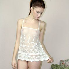 Sandmaiden bridal camisole with a flirty double scalloped hem and a slit open back