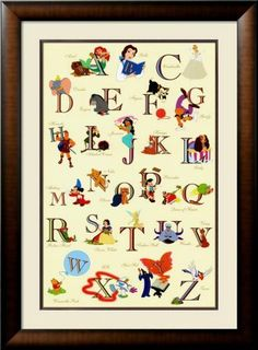 Disney alphabet for the nursery...painting it wld be a fun project ;)