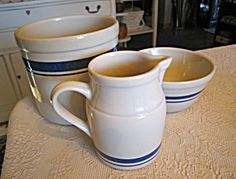 Friendship Pottery blue stripe assortment trio for sale at More Than McCoy!