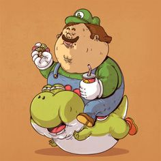 Food Trip! | Morbidly obese versions of iconic pop culture characters by Alex Solis