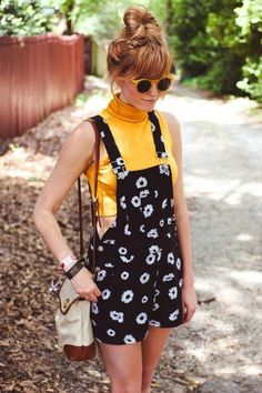 $65 Cute Black And White Daisy Flower Printed Romper Denim Dungarees With Yellow Poloneck Crop Top And Retro Yellow Old School Sunglasses